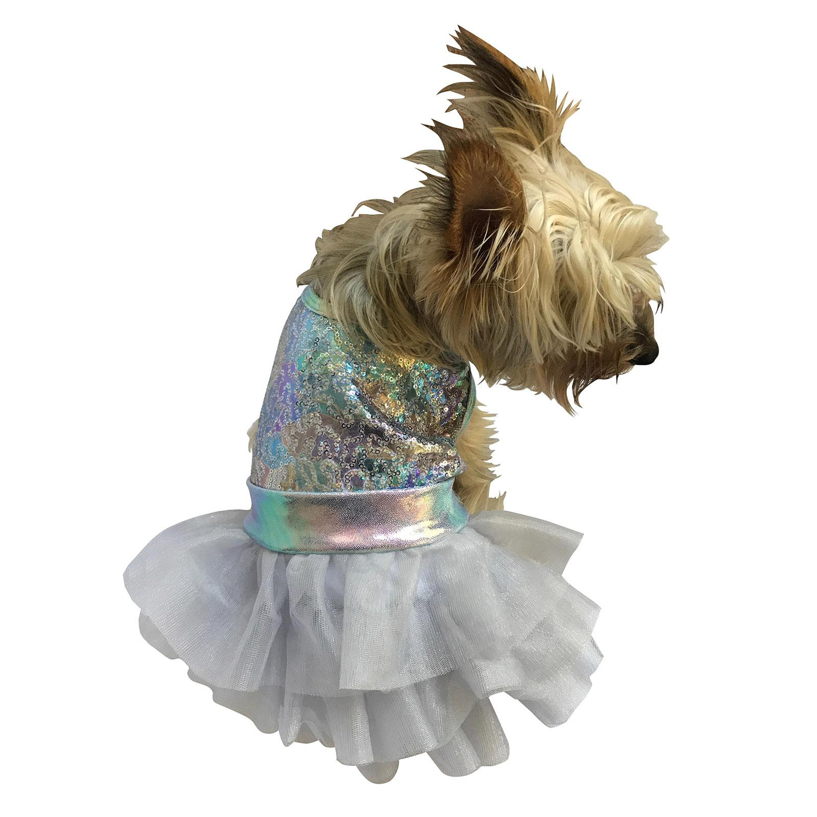 Unicorn Fufu Tutu Iridescent Dog Dress - Rainbow Sequins
