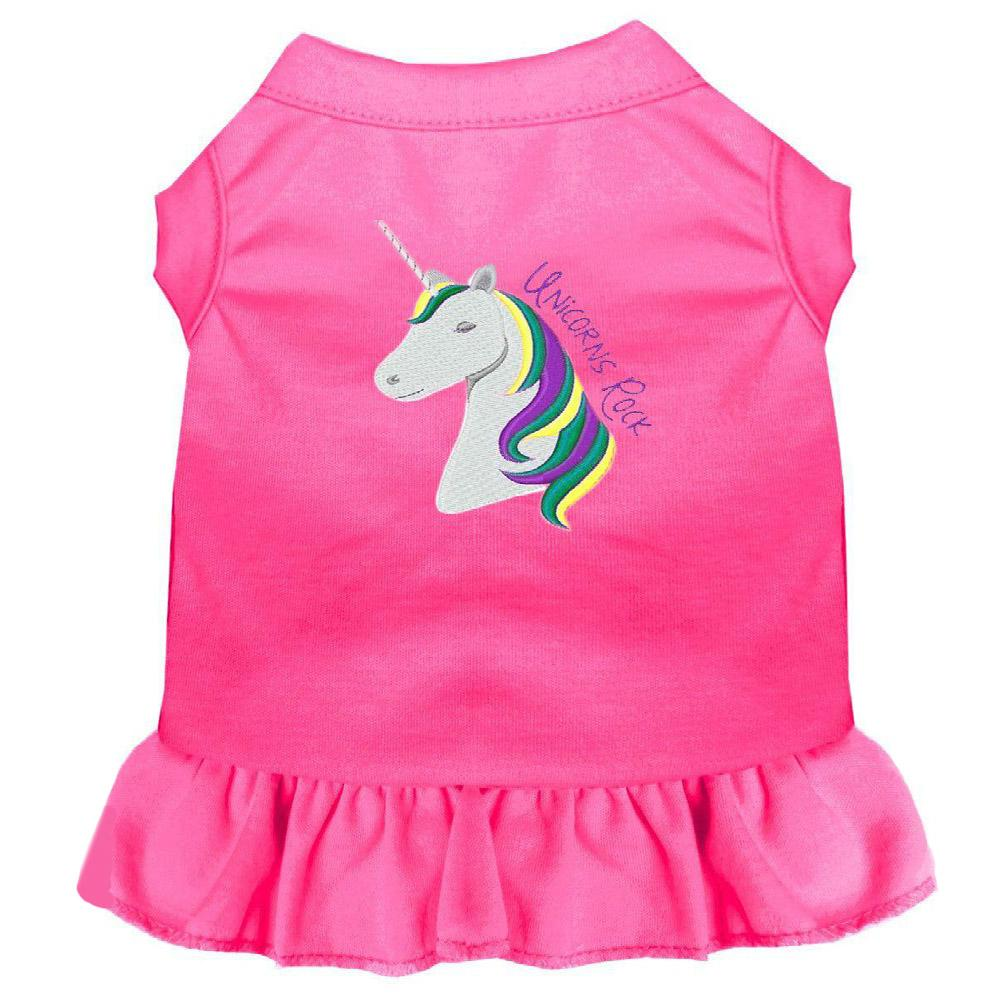 Unicorns Rock Embroidered Dog Dress - Bright Pink