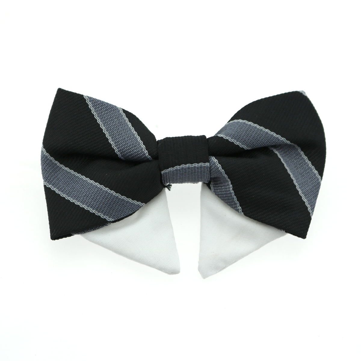 Dog Bow Tie Collar Attachment by Doggie Design - Black and Silver Stripe