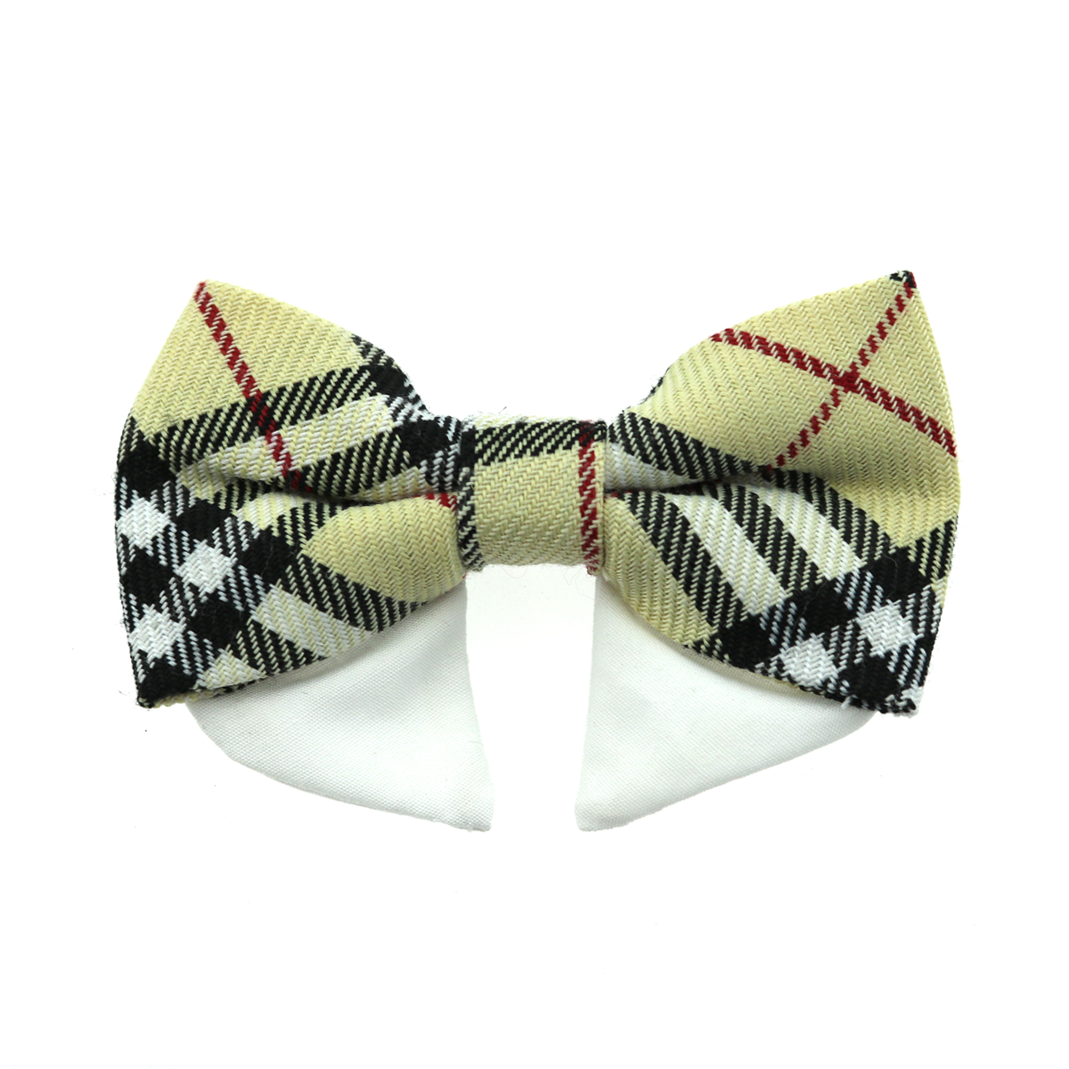 Dog Bow Tie Collar Attachment by Doggie Design - Tan Plaid