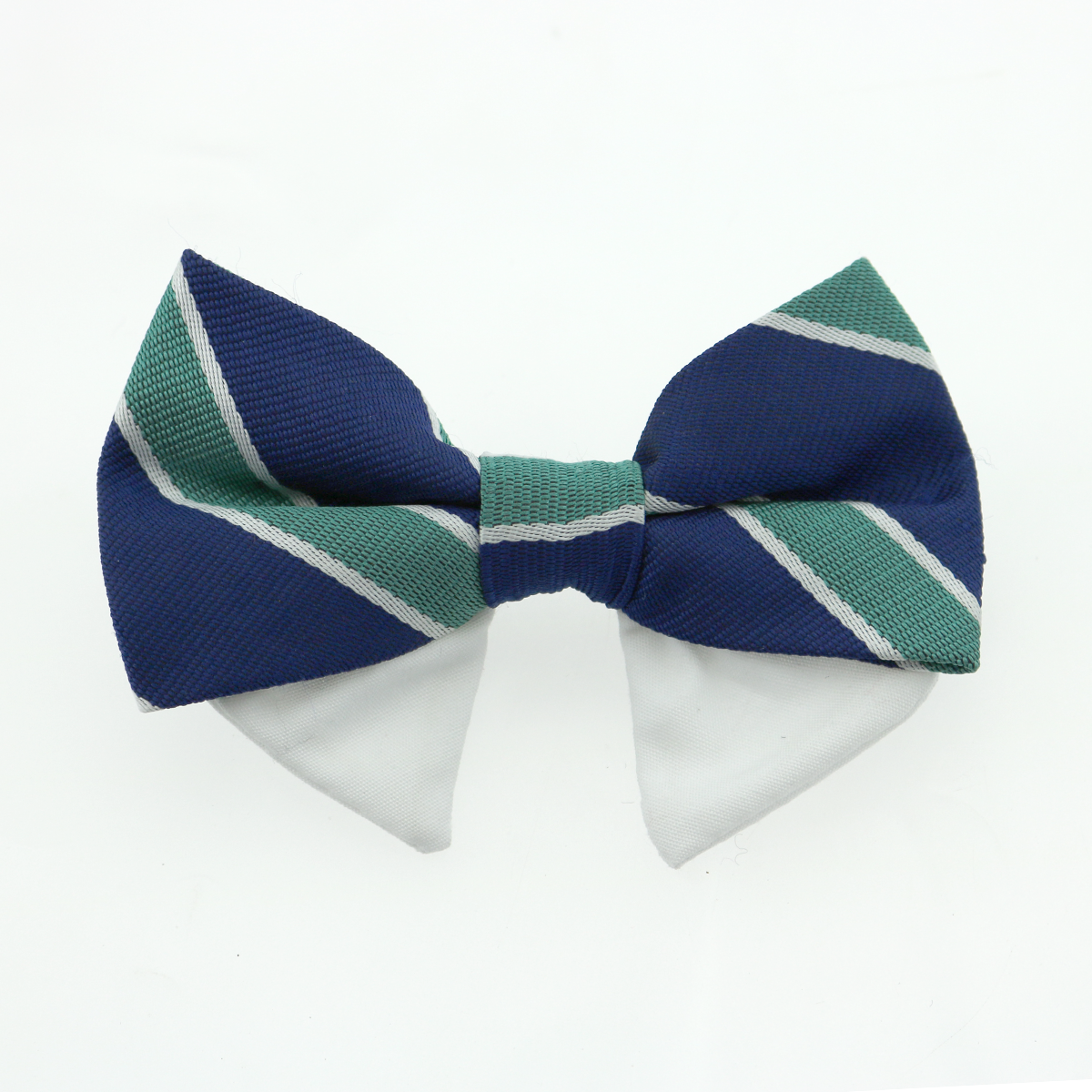 Dog Bow Tie Collar Attachment by Doggie Design - Navy Blue and Green Stripe