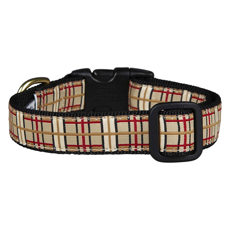 Up Country Tan Plaid Dog Collar