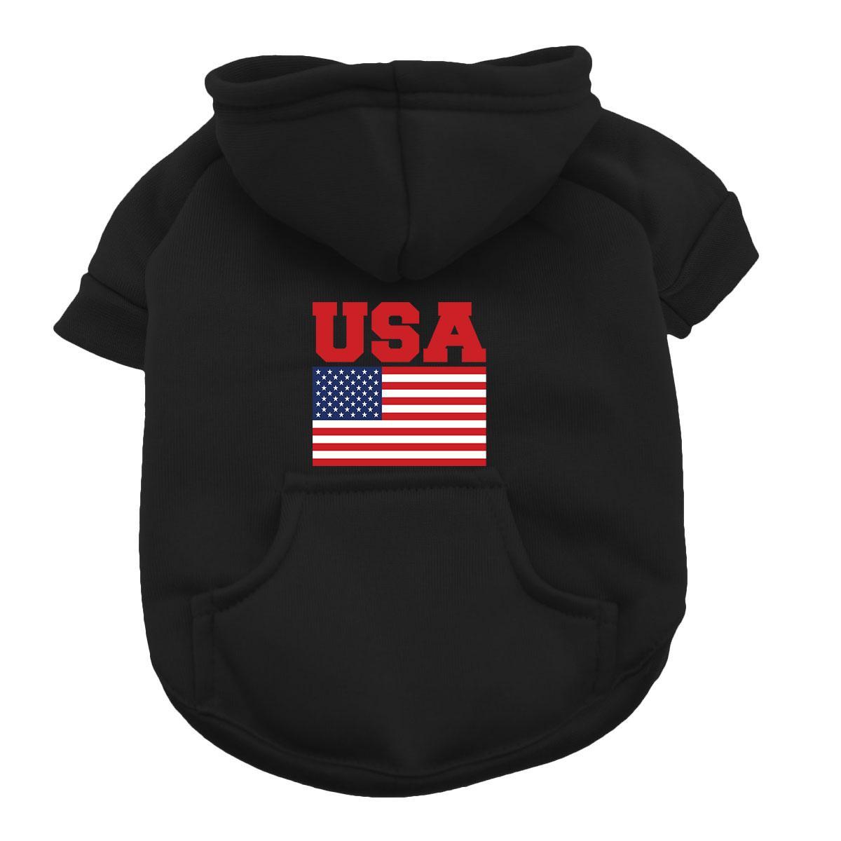 USA Dog Hoodie - Black