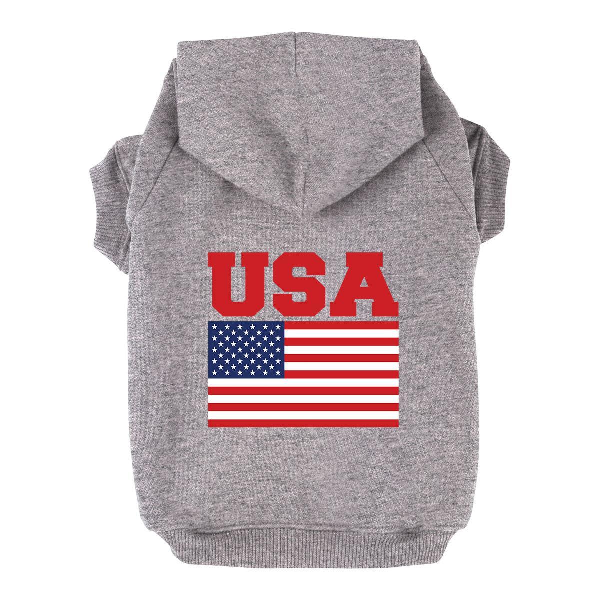USA Flag Dog Hoodie - Gray
