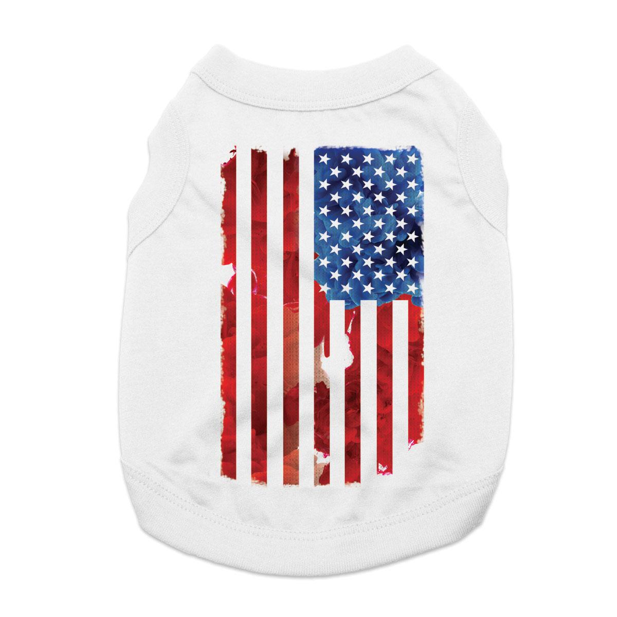 American Flag Dog Shirt - White