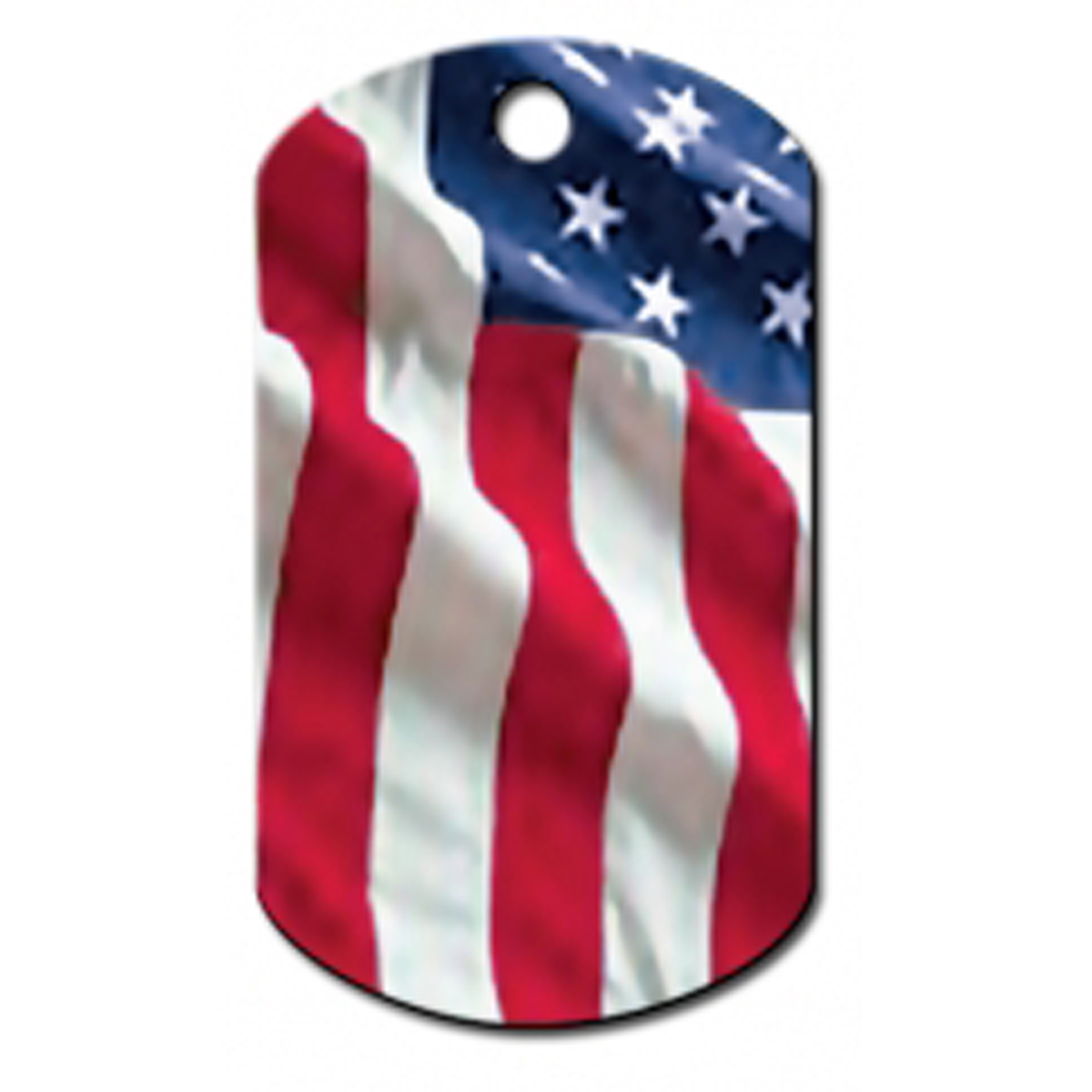 USA Flag Engravable Pet I.D. Tag - Large Military Tag