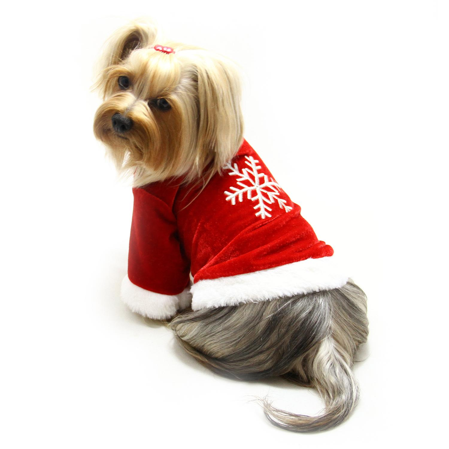 Velour Christmas Dog Shirt With Sparkling Silver Snowflake By Klippo