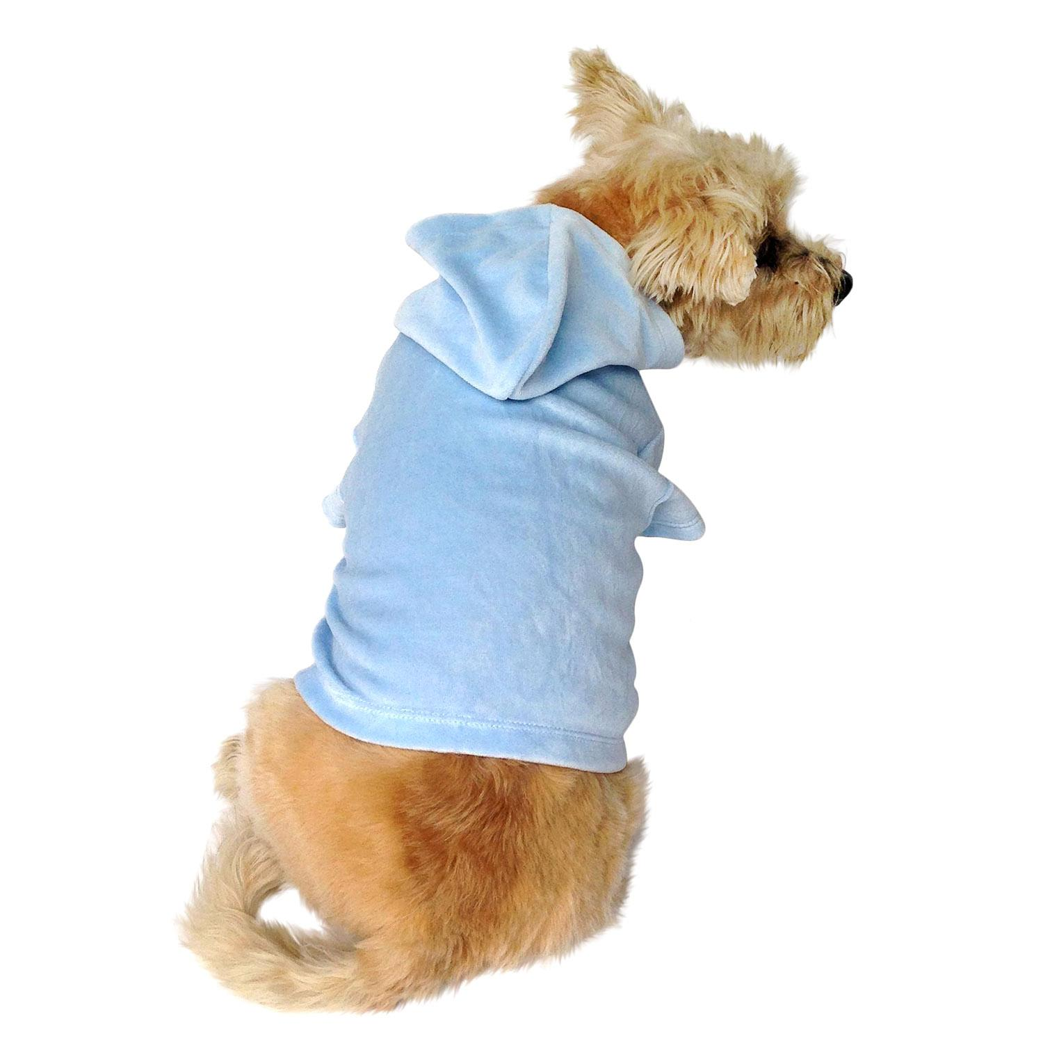 Velour Pullover Dog Hoodie - Light Blue