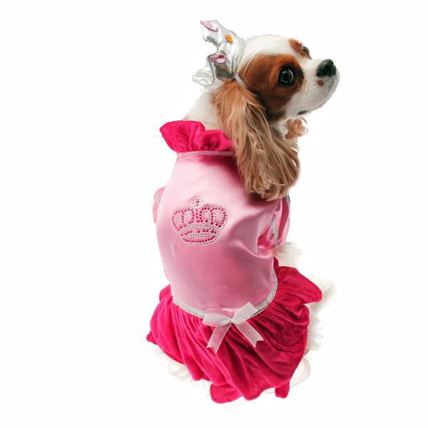 Velvet Princess Dog Costume Dress - Magenta with Tiara