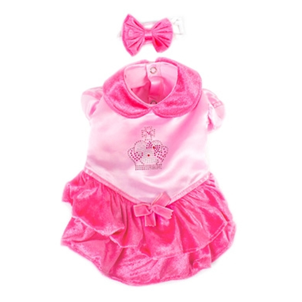 Velvet Princess Dog Costume Dress - Pink with Bow