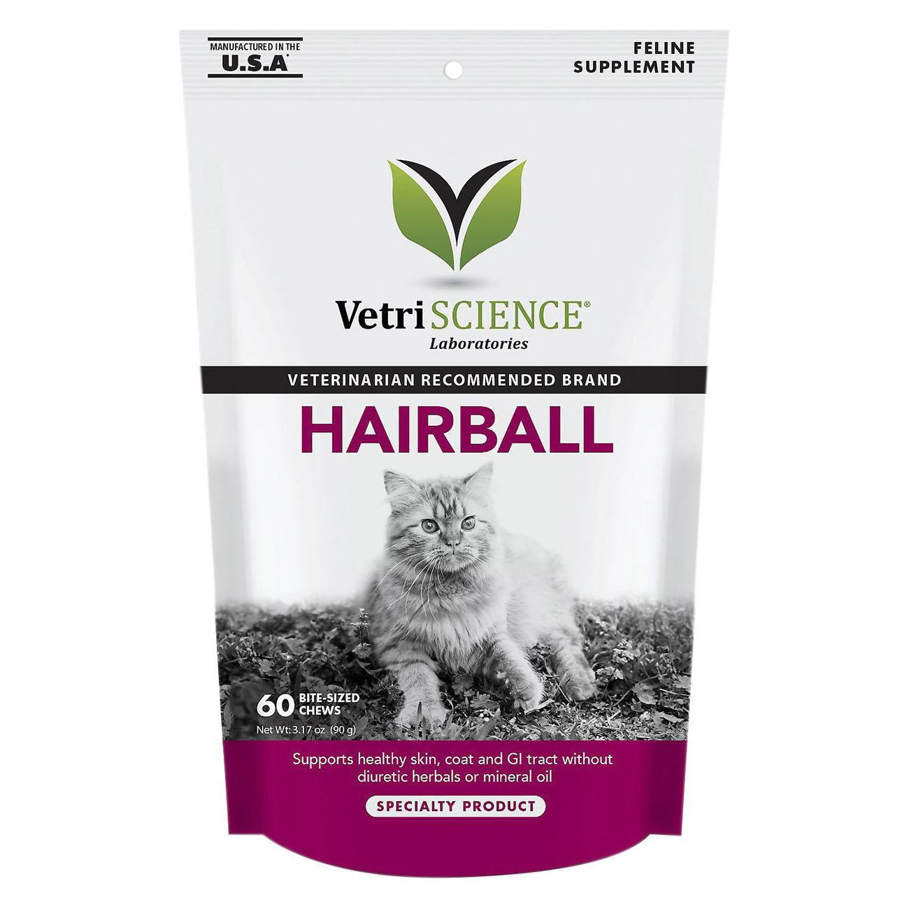 VetriScience Hairball Digestive and Coat Supplement Cat Chews