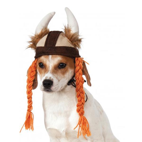 Viking Hat with Braids Dog Costume