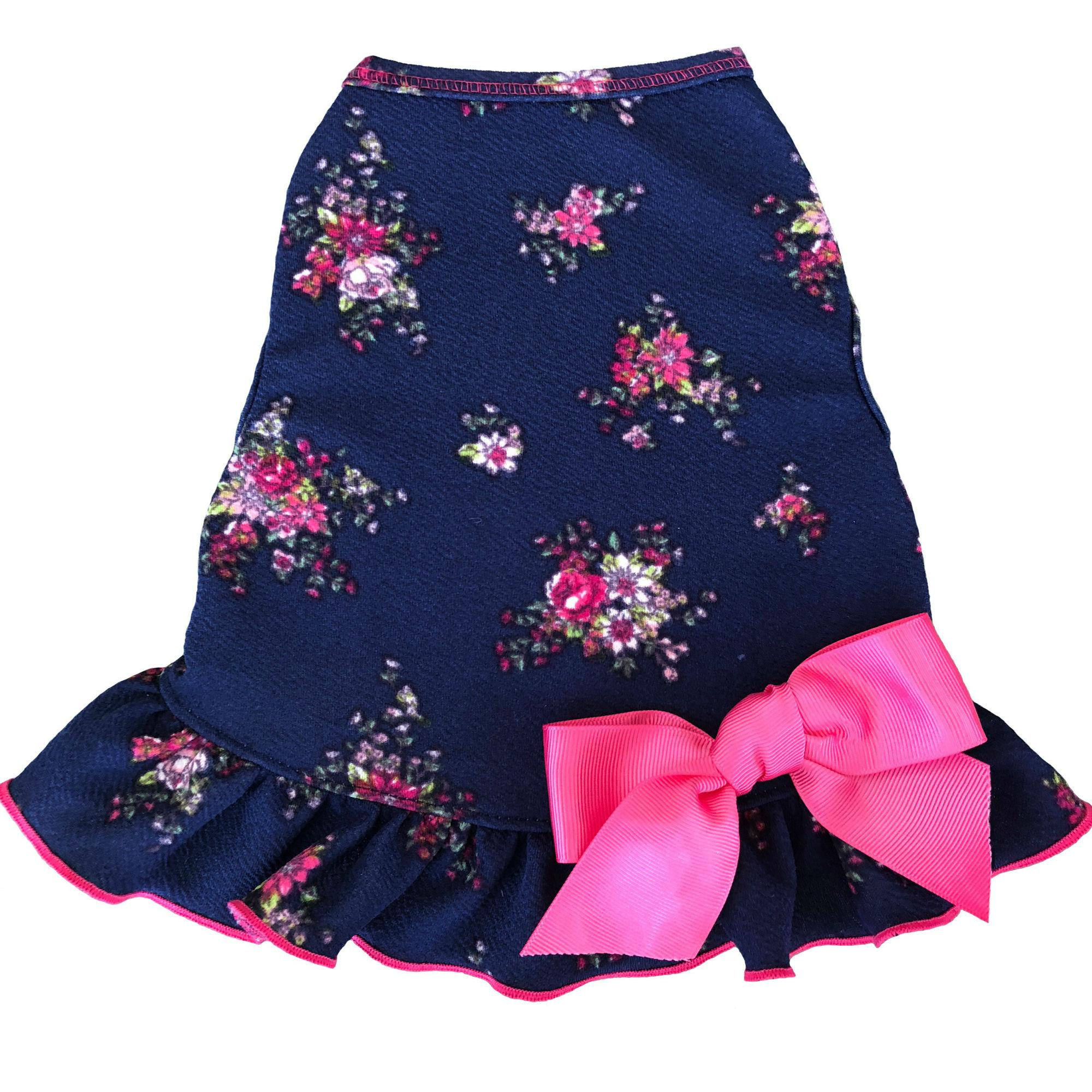 Vintage Floral Dog Dress with Satin Bow - Navy