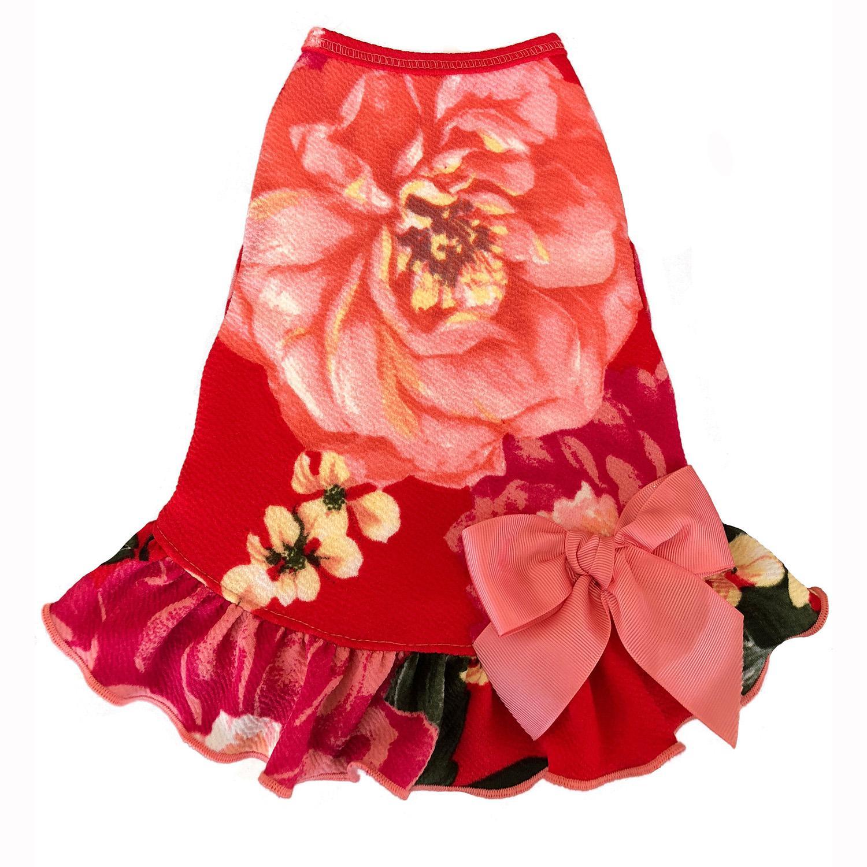 Vintage Floral Dog Dress with Satin Bow - Red Pink Rose