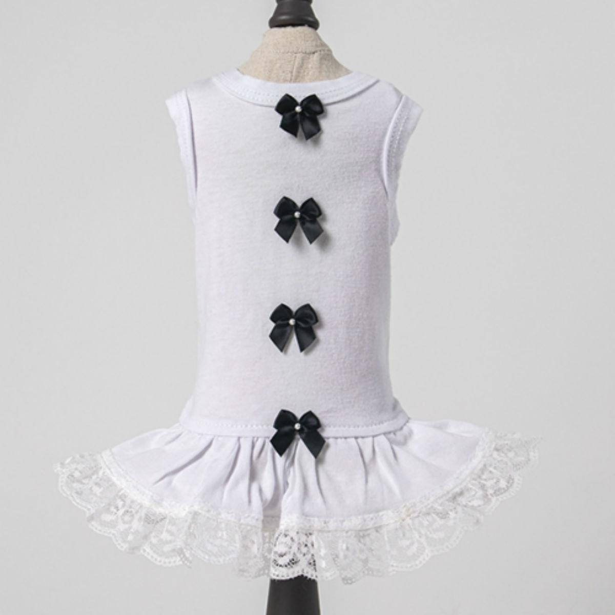 Hello Doggie Sweetheart Dog Dress - Black and White