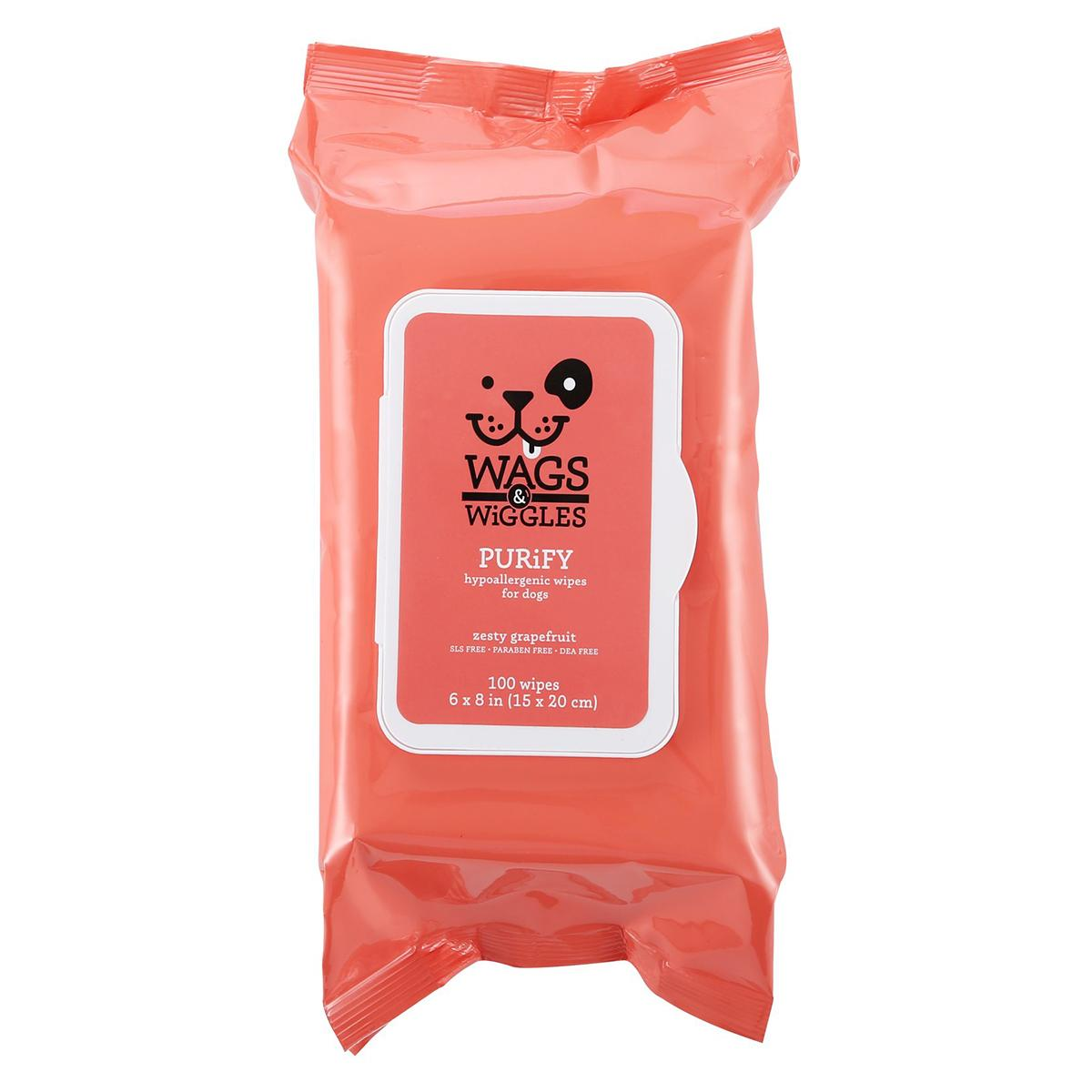Wags & Wiggles Purify Hypoallergenic Wipes - Zesty Grapefruit
