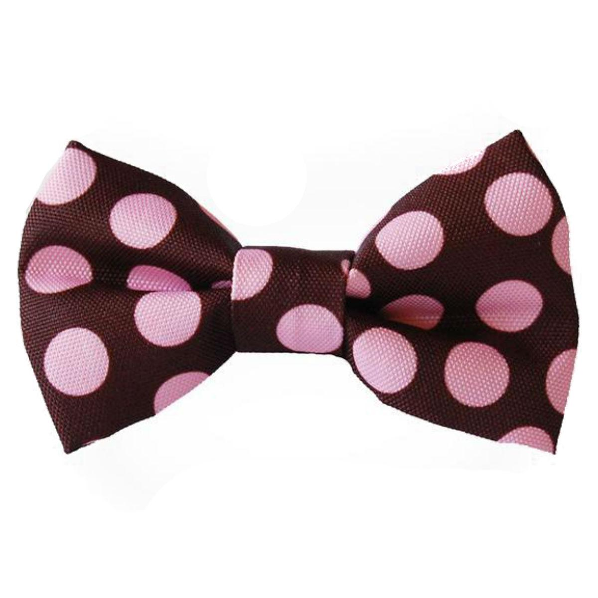 WaLk-e-Woo Bow Tie Dog Collar Attachment - Pink on Brown Dot
