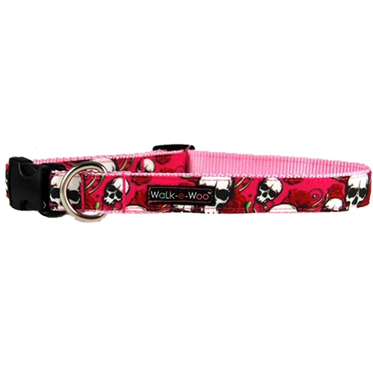 WaLk-e-Woo Skulls n' Roses Dog Collar - Pink