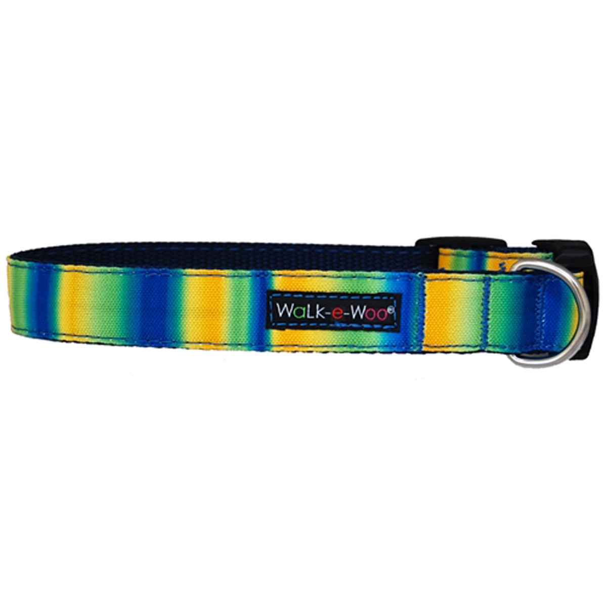 WaLk-e-Woo Tie Dye Dog Collar - Blue/Green