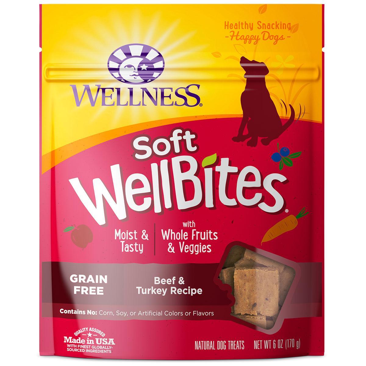 Wellness Natural Grain-Free Wellbites Soft Dog Treat - Beef & Turkey Recipe
