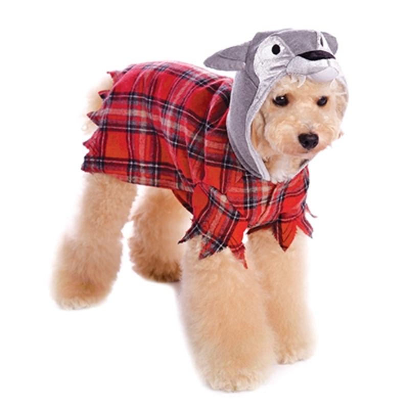 Werewolf Plaid Dog Hoodie by Dogo