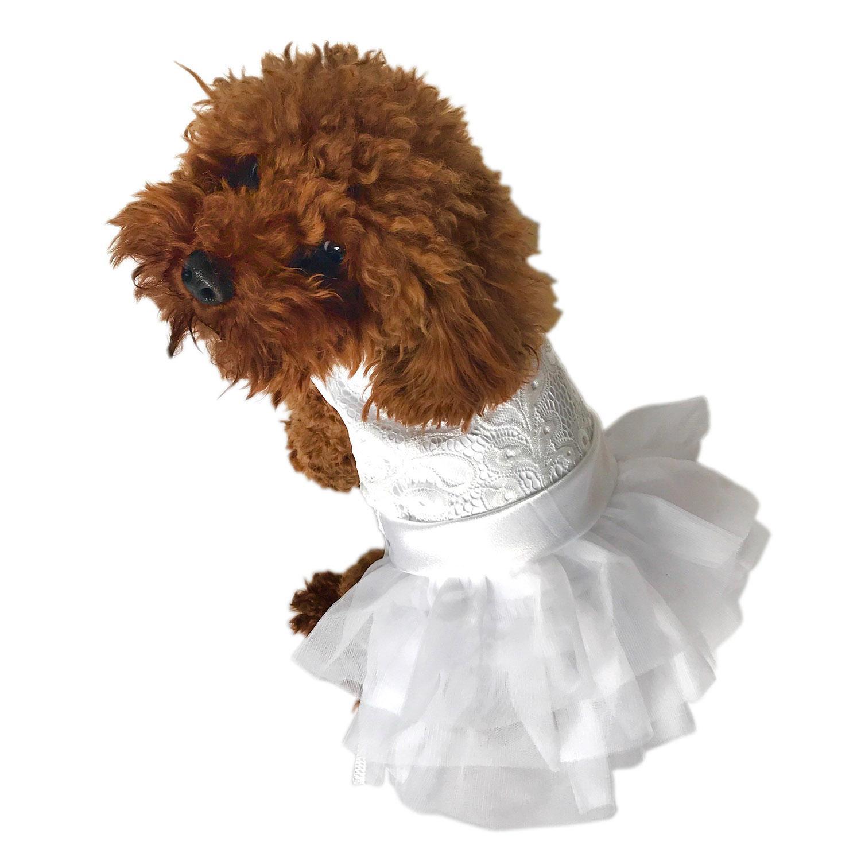 White Wedding Fufu Tutu Dog Dress