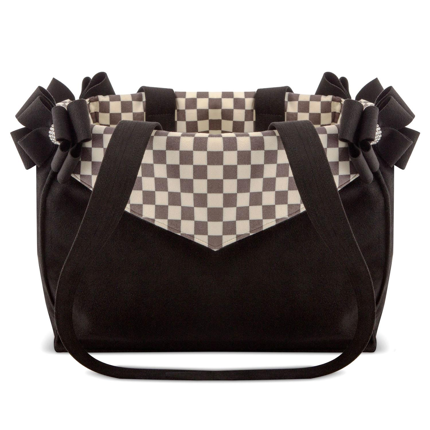 Windsor Check Double Nouveau Bow Luxury Dog Carrier by Susan Lanci - Chocolate