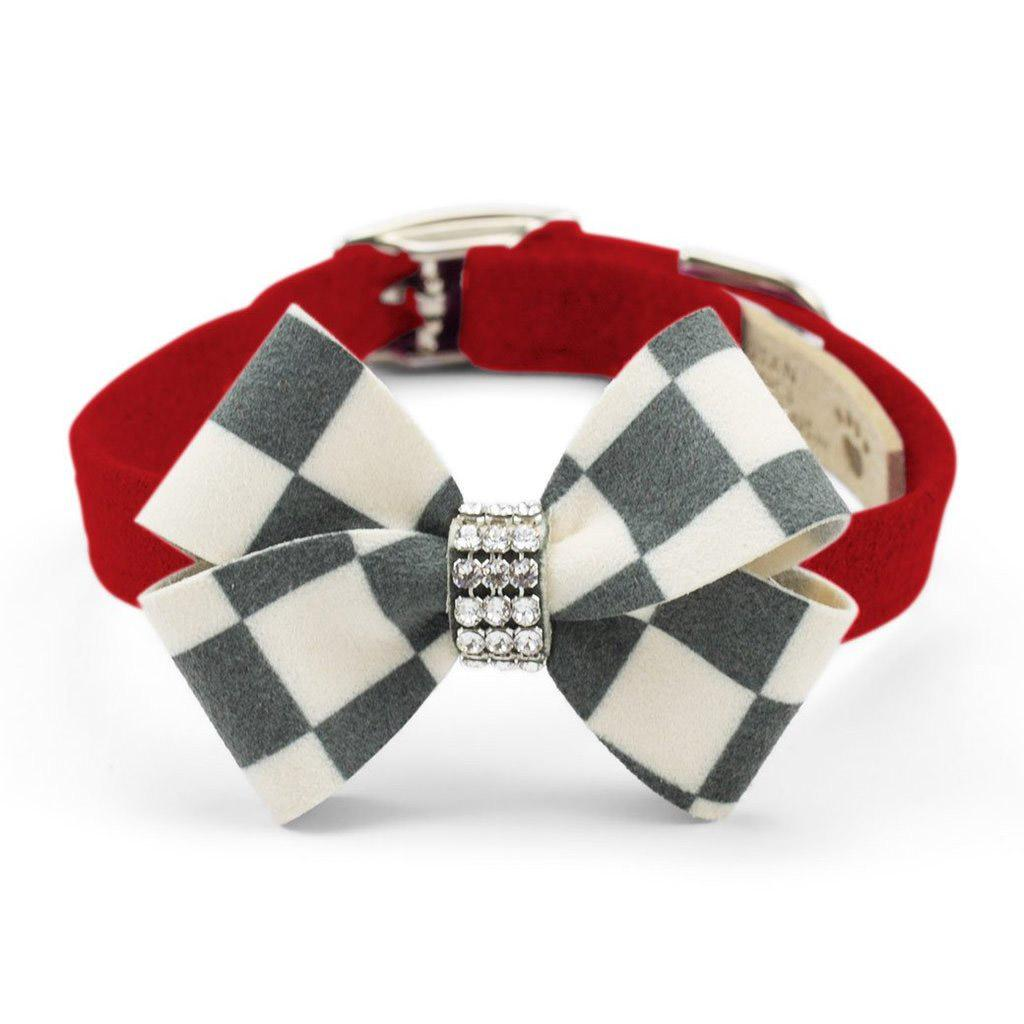 Windsor Check Nouveau Bow Luxury Dog Collar by Susan Lanci - Red