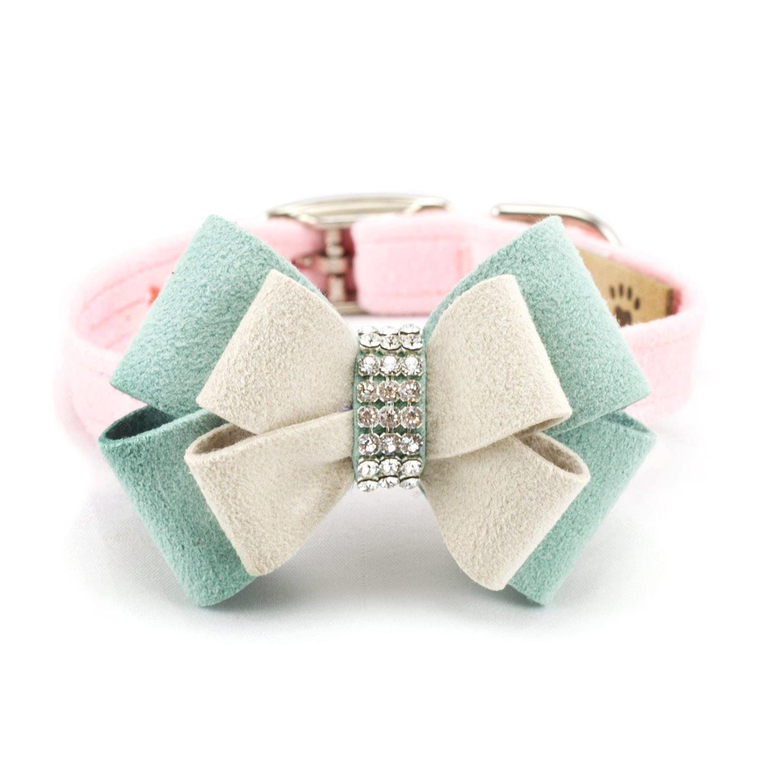 Hope Bow Luxury Dog Collar by Susan Lanci - Puppy Pink