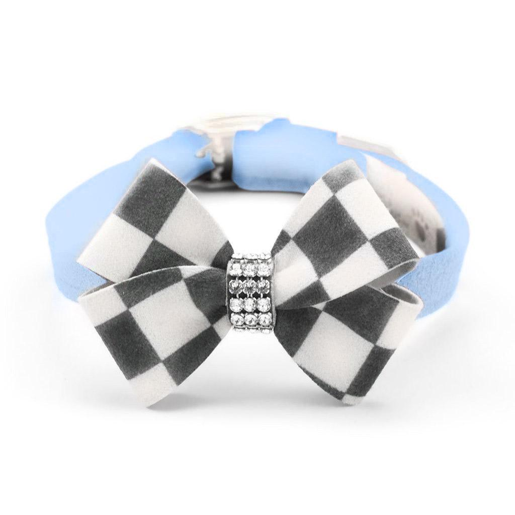 Windsor Check Nouveau Bow Luxury Dog Collar by Susan Lanci - Puppy Blue