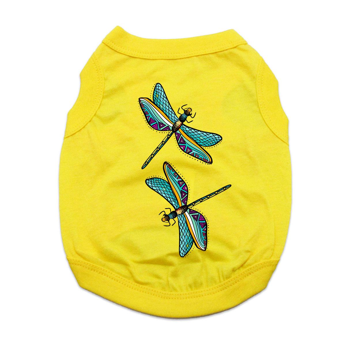 Dragonflies Dog Shirt - Yellow