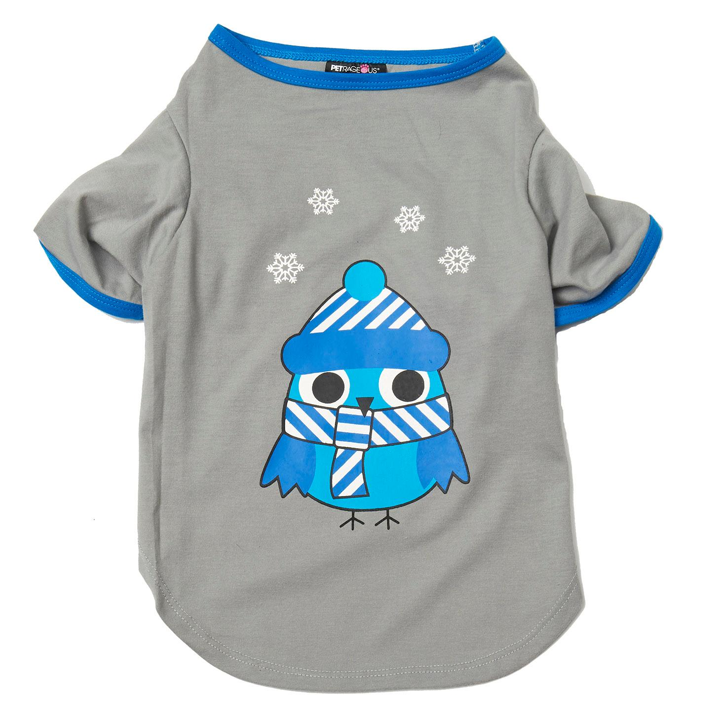 Winter Owl Dog Nightshirt - Gray