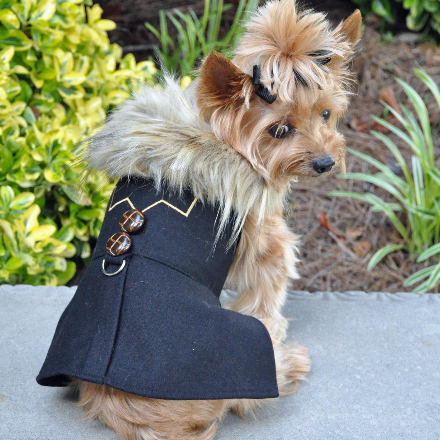 Wool Fur-Trimmed Dog Harness Coat by Doggie Design - Chevron