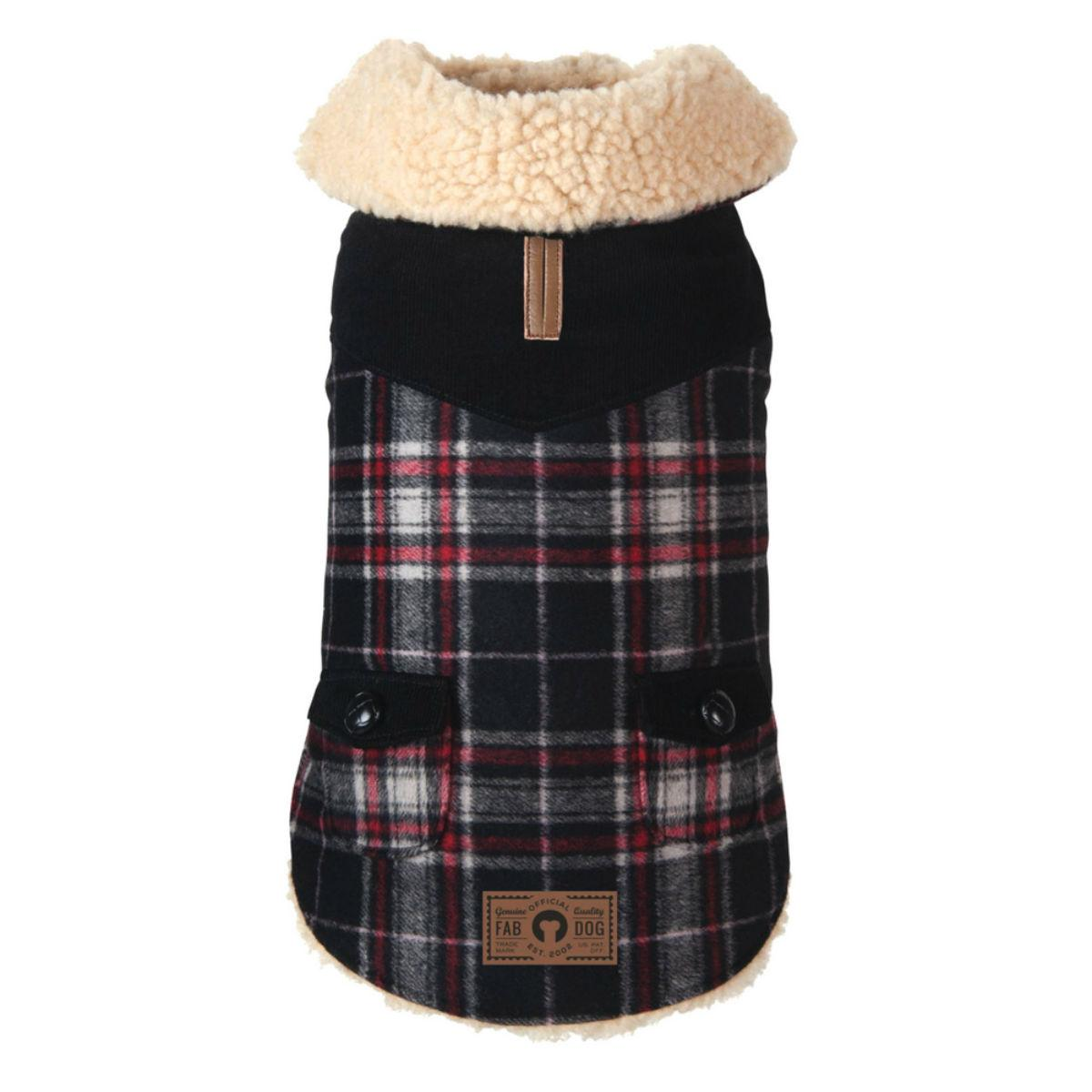 fabdog® Wool Plaid Shearling Dog Jacket - Black