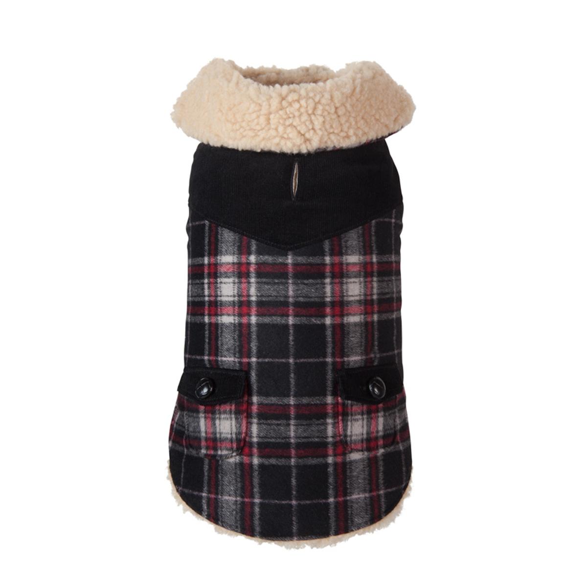 Wool Plaid Shearling Dog Jacket - Black