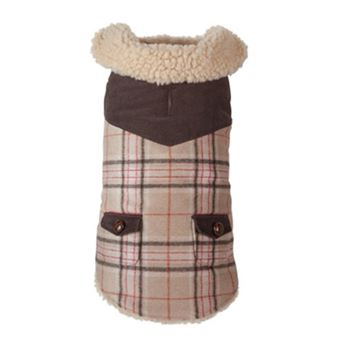 Wool Plaid Shearling Dog Jacket - Camel