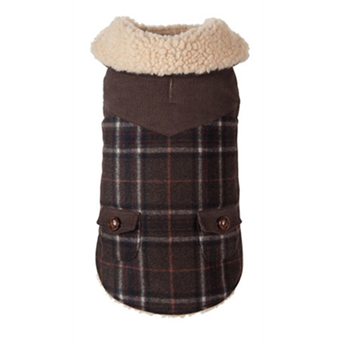 fabdog® Wool Plaid Shearling Dog Jacket - Olive