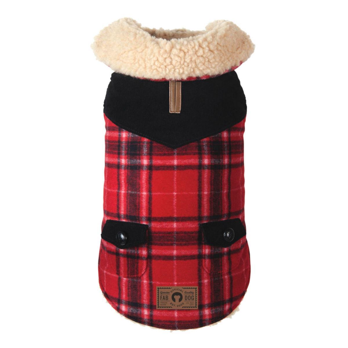 Wool Plaid Shearling Dog Jacket - Red