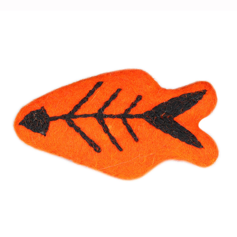 Wooly Wonkz Halloween Cat Toy - Orange Skeleton Fish