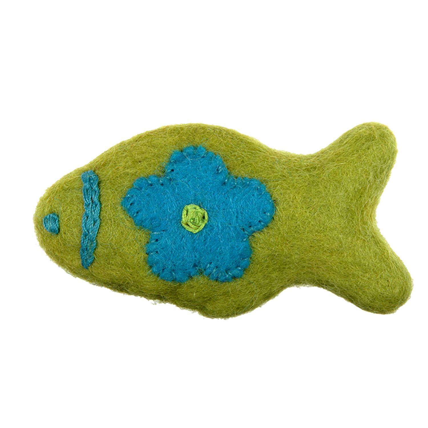 Wooly Wonkz Woodland Cat Toy - Lime Fish