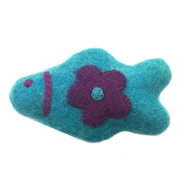 Wooly Wonkz Woodland Cat Toy - Teal Fish