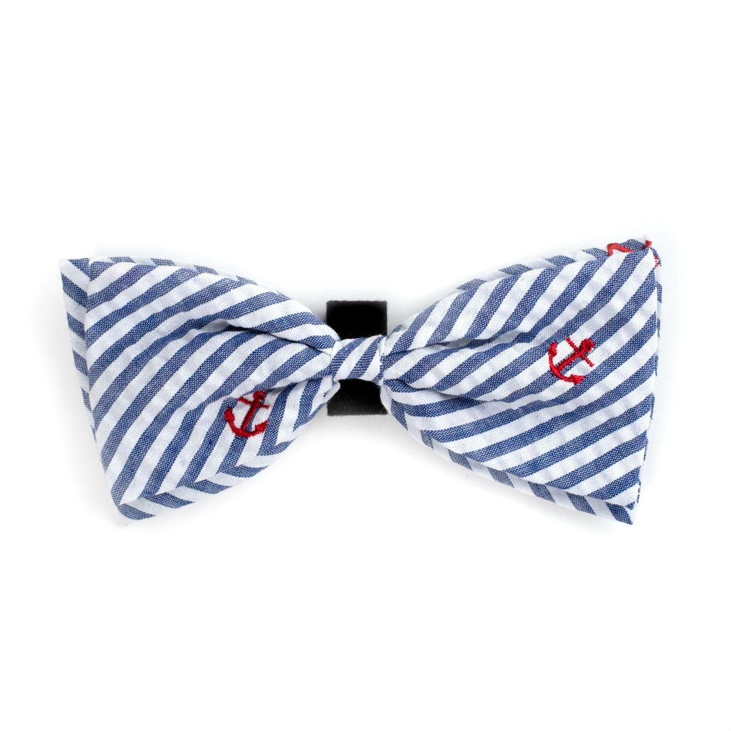 Worthy Dog Navy Stripe Anchor Dog and Cat Bow Tie Collar Attachment