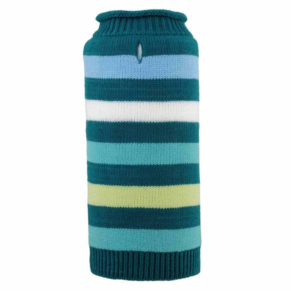 Worthy Dog Dapper Striped Dog Sweater - Teal
