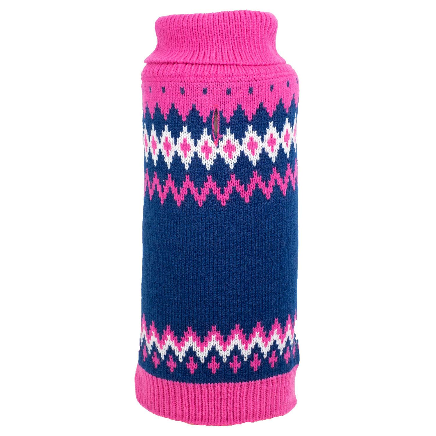 Worthy Dog Fairisle Dog Sweater Pink Baxterboo