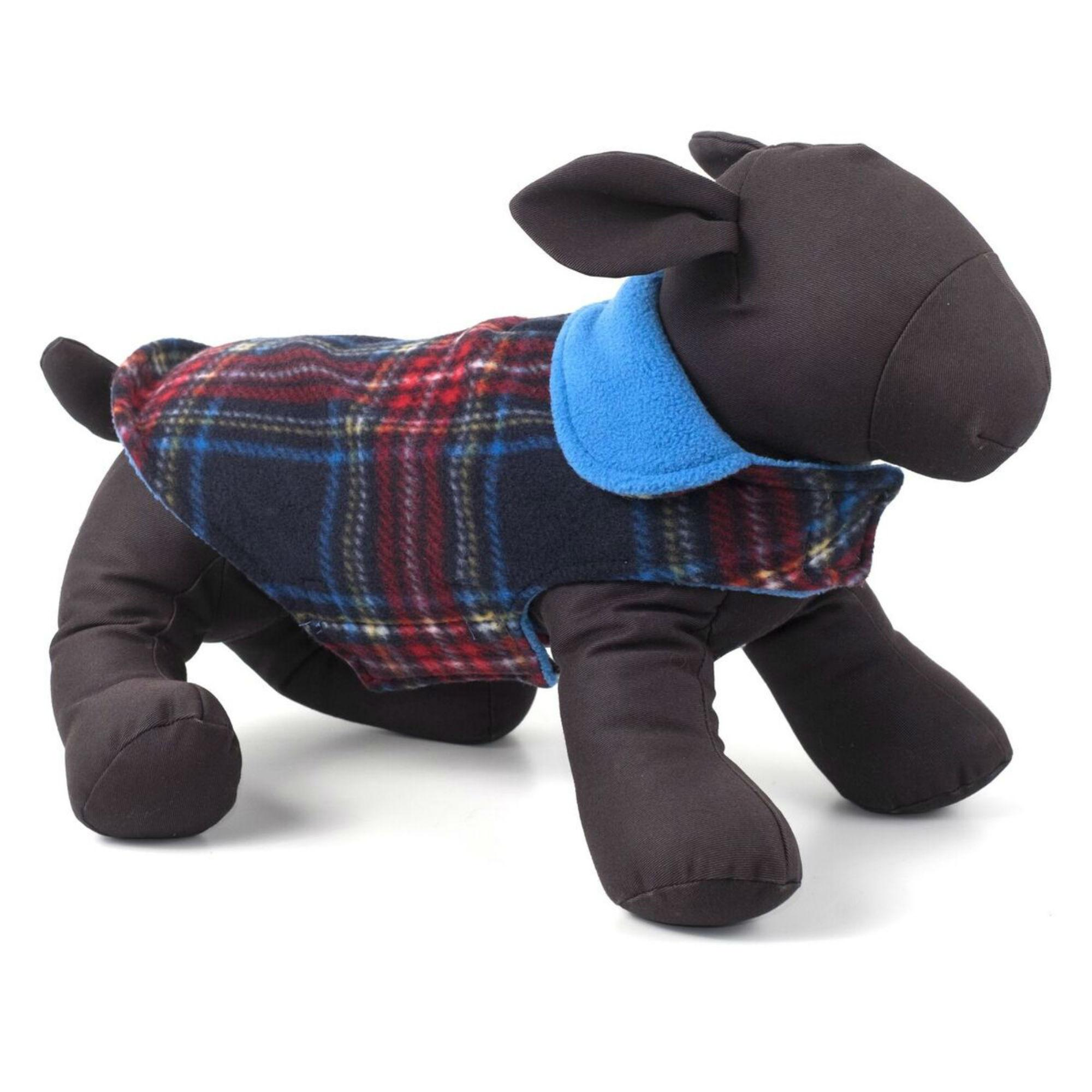 Worthy Dog Fargo Fleece Dog Jacket Navy Pla Baxterboo