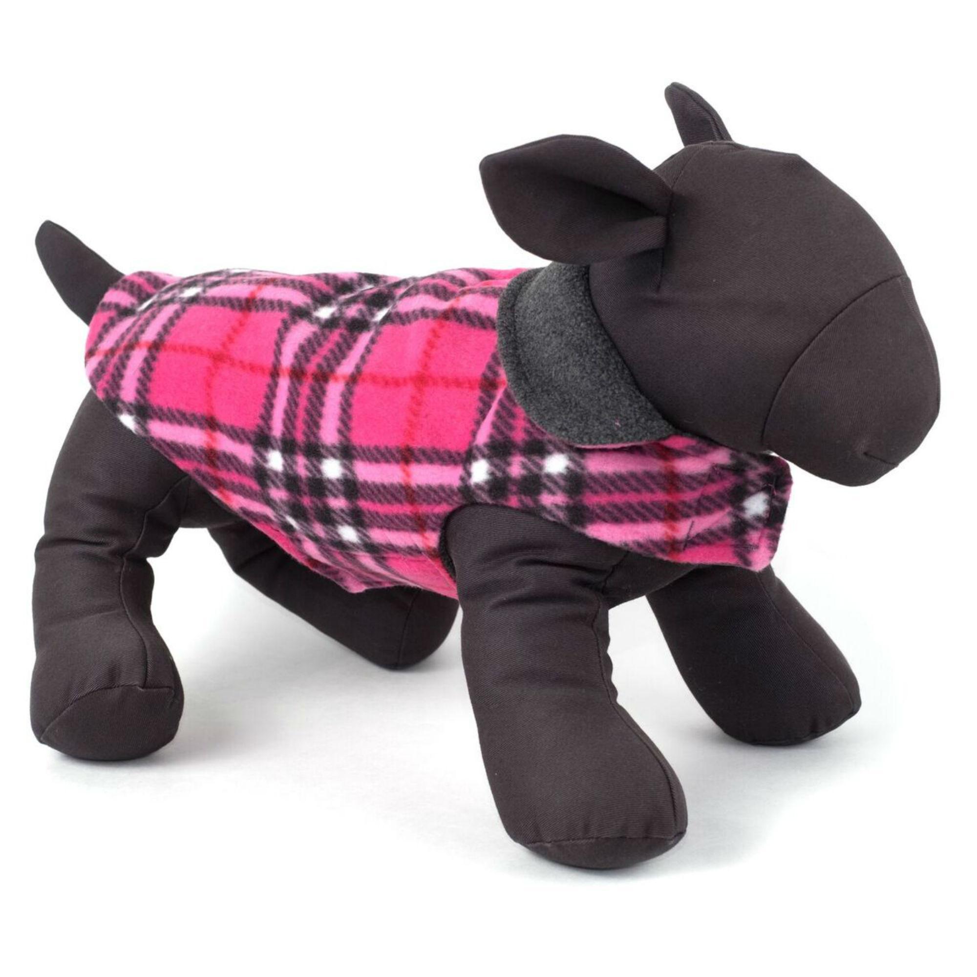 Worthy Dog Fargo Fleece Dog Jacket - Pink Plaid IV