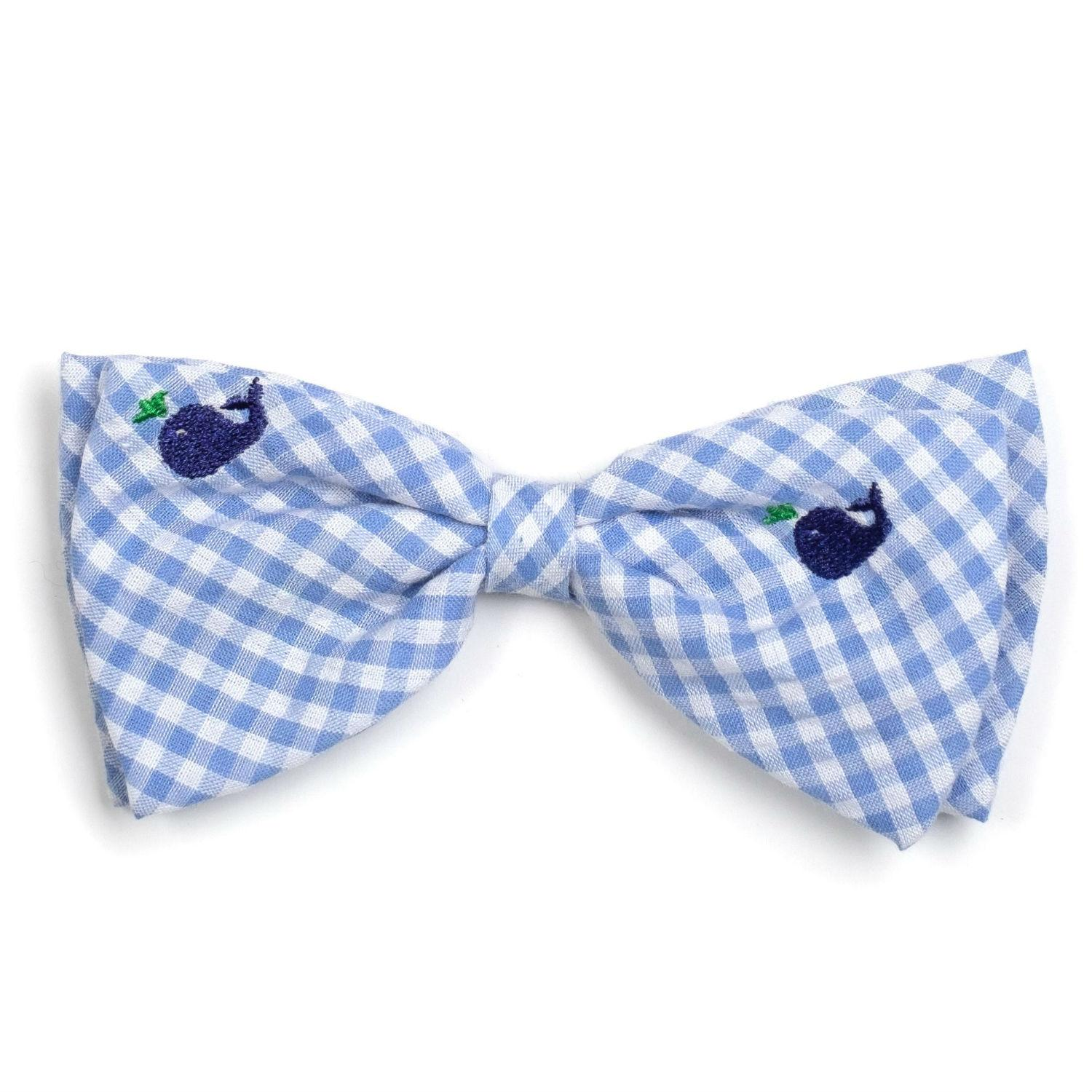 Worthy Dog Gingham Whales Dog and Cat Bow Tie Collar Attachment