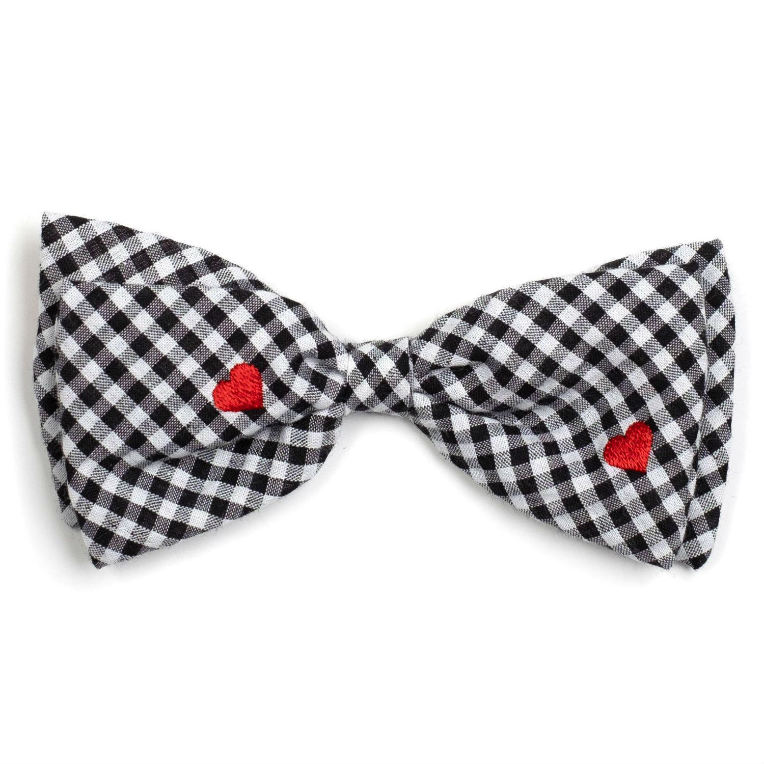 Worthy Dog Gingham Hearts Dog and Cat Bow Tie Collar Attachment