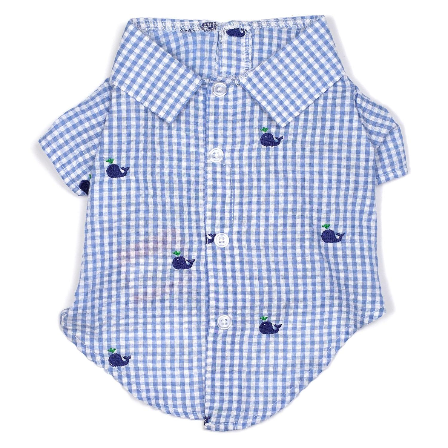 Worthy Dog Gingham Whales Dog Shirt