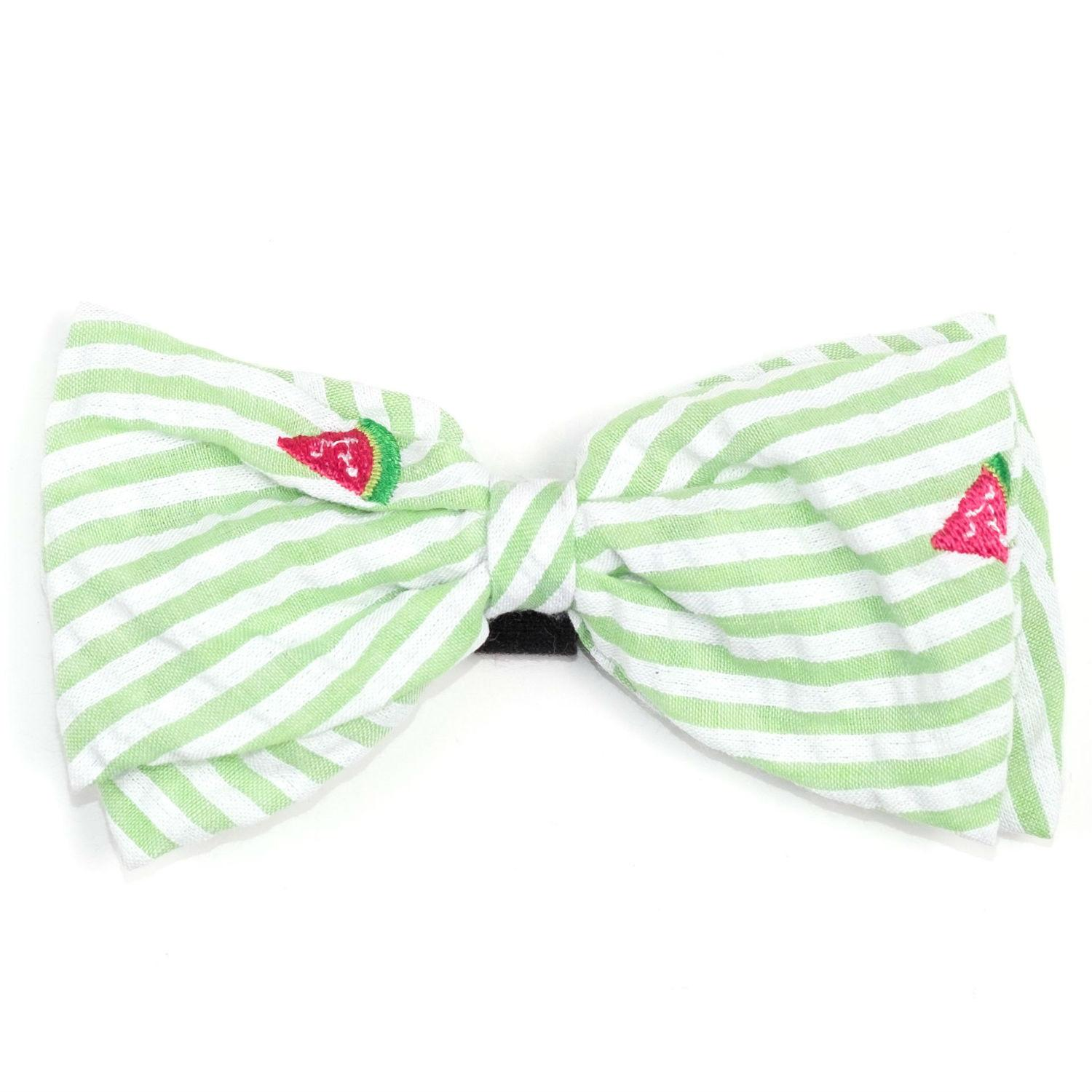 Worthy Dog Green Stripe Watermelon Dog and Cat Bow Tie Collar Attachment
